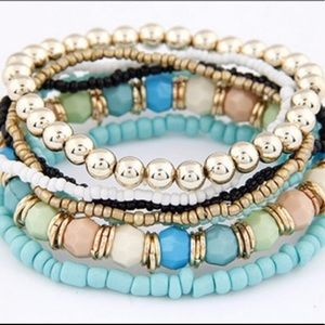 Jewelry - Seven layered blue gold beads bracelet